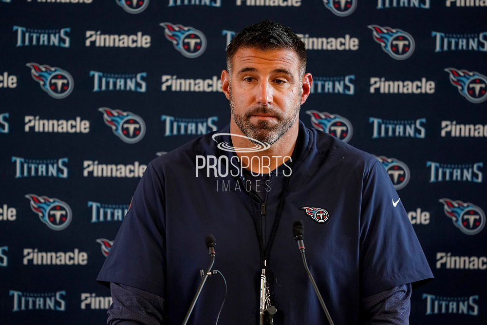 Tennessee Titans Head Coach Mike Vrabel during the Tennessee Titans pre-match press conference at Syon House, Brentford, United Kingdom on 19 October 2018.