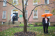 Eric Burchard, the Director of Government Relations at Ohio University, left, and Joe Lalley, the Senior Associate Vice President of Information Technologies and Administrative Services, right, stand outside of Cutler Hall at the start of the Cutler Hall Bicentennial celebration on October 21, 2016.