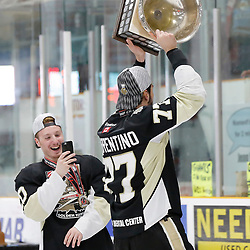 TRENTON, ON  - MAY 6,  2017: Canadian Junior Hockey League, Central Canadian Jr. &quot;A&quot; Championship. The Dudley Hewitt Cup Championship Game between The Trenton Golden Hawks and The Georgetown Raiders. Anthony Sorrentino #77 of the Trenton Golden Hawks during post game celebrations. <br /> (Photo by Amy Deroche / OJHL Images)