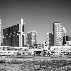 Charlotte skyline black and white picture with Duke Energy Center, Bank of America Corporate Center, Hearst Tower, One Wells Fargo Center, Two Wells Fargo Center, Three Wells Fargo Center, and the Westin building. Charlotte, North Carolina is a major city in the Eastern United States of America.