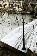 A view of the Tiber banks in Rome after the snow fall in February 2012