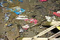 Rubbish of Lanterns and other things in a river