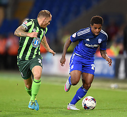 Barry Fuller of AFC Wimbledon marks Kadeem Harris of Cardiff City - Mandatory by-line: Paul Knight/JMP - Mobile: 07966 386802 - 11/08/2015 -  FOOTBALL - Cardiff City Stadium - Cardiff, Wales -  Cardiff City v AFC Wimbledon - Capital One Cup