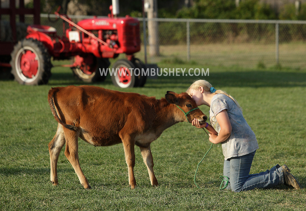 Sydney Waltenberg-O'Brien kisses the calf she will be showing at the Otisville Country Fair on Friday, Aug. 24, 2012. The calf is named Molly, but Sydney said that everyone calls the animal Psycho. The cattle judging will be held at 6 p.m. on Saturday.