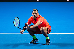 January 7, 2019 - Sydney, NSW, U.S. - SYDNEY, AUSTRALIA - JANUARY 07: Nick Kyrgios (AUS) at The Sydney FAST4 Tennis Showdown on January 07, 2018, at Qudos Bank Arena in Homebush, Australia. (Photo by Speed Media/Icon Sportswire) (Credit Image: © Steven Markham/Icon SMI via ZUMA Press)