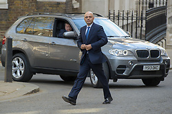 Sajid Javid, Secretary of State for Culture, Media and Sport arrives at Downing Street.  Wednesday, 9th April 2014. Picture by Anthony Upton / i-Images