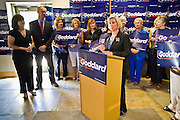 08 OCTOBER 2010 - PHOENIX, AZ: Monica and Terry Goddard listen to Lilly Ledbetter (the Lilly Ledbetter Fair Pay Act of 2009 is named after her) at Terry Goddard's campaign headquarters in downtown Phoenix Friday, Oct. 8.   Goddard lost the election to sitting Governor Jan Brewer, a conservative Republican.     PHOTO BY JACK KURTZ