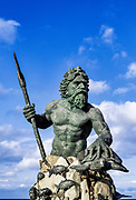 Bronze King Neptune statue along the boardwalk in Virginia Beach, Virginia, USA
