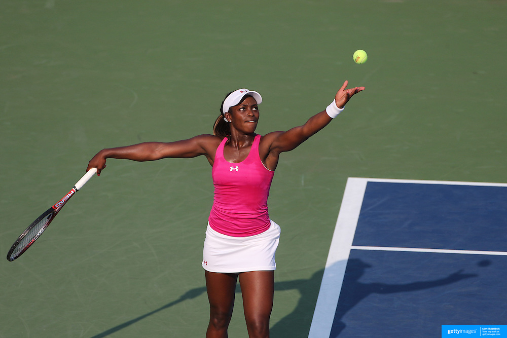 Sloane Stephens, USA, in action during her match against Tatjana Malek, Germany, during the US Open Tennis Tournament, Flushing, New York. USA. 30th August 2012. Photo Tim Clayton
