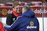 Liverpool Manager Jurgen Klopp  and Sunderland Manager Sam Allardyce  during the Barclays Premier League match between Sunderland and Liverpool at the Stadium Of Light, Sunderland, England on 30 December 2015. Photo by Simon Davies.