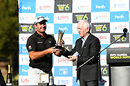 PERTH, AUSTRALIA - FEBRUARY 17: Ryan Fox (NZL) receiving his trophy on the 18th after the match play of the ISPS Handa World Super 6, Lake Karrinyup Country Club, Perth, Western Australia, on February 17, 2019. <br /> .<br /> .<br /> .<br /> (Photo by: Naratip Golf Srisupab/SEALs Sports Images)<br /> .<br /> Any image use must include a mandatory credit line adjacent to the content which should read: Naratip Golf Srisupab/SEALs Sports Images