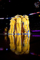 15 January 2010: The Los Angeles Lakers huddle up after player introductions before the start of the Lakers 126-86 victory over the Los Angeles Clippers at the STAPLES Center in Los Angeles, CA.
