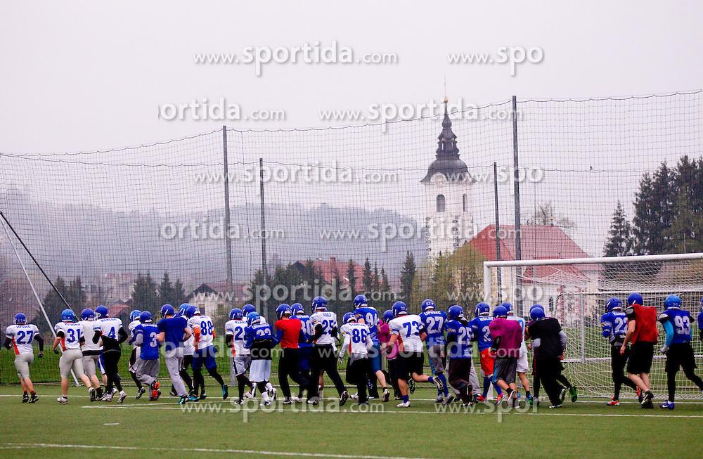 Practice session of American Football Team Ljubljana Silverhawks, on April 11, 2012, in Radomlje, Slovenia. (Photo by Vid Ponikvar / Sportida.com)