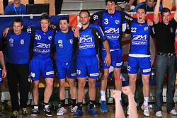 Players of Klima Petek Maribor (Rok Ivancic - 20, Saso Vrecar - 4, Gregor Radovic - 19, Dusko Celica - 3, Andrej Jug -22) celebrate at Men Slovenian Handball Cup, for 3rd place match between RK Klima Petek Maribor and RK Gorenje Velenje, on April 19, 2009, in Arena Bonifika, Koper, Slovenia. Klima Petek Maribor won 31:25 and placed 3rd. (Photo by Vid Ponikvar / Sportida)