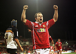 LIONS WINGER AUSTIN HEALEY CELEBRATES AFTER SCORING THE WINNIING TRY, .ACT BRUMBIES V BRITISH & IRISH LIONS, BRUCE STADIUM, CANBERRA, AUSTRALIA, TUESDAY 3RD JULY 2001