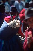 ECUADOR, MARKETS, CRAFTS Saquisili market woman and sheep
