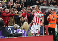 Marko Arnautovic of Stoke City celebrates scoring the first goal against Chelsea during the Barclays Premier League match at the Britannia Stadium, Stoke-on-Trent.<br /> Picture by Michael Sedgwick/Focus Images Ltd +44 7900 363072<br /> 07/11/2015
