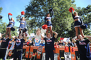 Ole Miss cheerleaders during ESPN's College Gamday in the Grove in Oxford, Miss. on Saturday, October 4, 2014. The broadcast was ESPN College Gameday's first ever from Ole Miss.