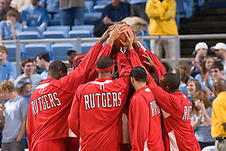 28 December 2006: Rutgers team before a 87-48 Rutgers Scarlet Knights loss to the North Carolina Tarheels, in the Dean Smith Center in Chapel Hill, NC.<br />
