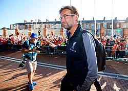 BLACKBURN, ENGLAND - Thursday, July 19, 2018: Liverpool Manager Jürgen Klopp arrives at the stadium before a preseason friendly match between Blackburn Rovers FC and Liverpool FC at Ewood Park. (Pic by Paul Greenwood/Propaganda)
