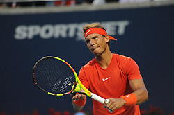 August 10, 2018 - Toronto, ON, Canada - Spanish professional tennis player, Rafael Nadal in action in his quarter-final match in the Rogers Cup tennis tournament in Toronto, Canada. (Credit Image: © Mike Mastrandrea via ZUMA Wire)