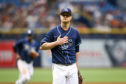 July 8, 2017 - St. Petersburg, Florida, U.S. - WILL VRAGOVIC   |   Times.Tampa Bay Rays starting pitcher Alex Cobb (53) heads for the dugout after the top of the first inning of the game between the Boston Red Sox and the Tampa Bay Rays at Tropicana Field in St. Petersburg, Fla. on Saturday, July 8, 2017. (Credit Image: © Will Vragovic/Tampa Bay Times via ZUMA Wire)