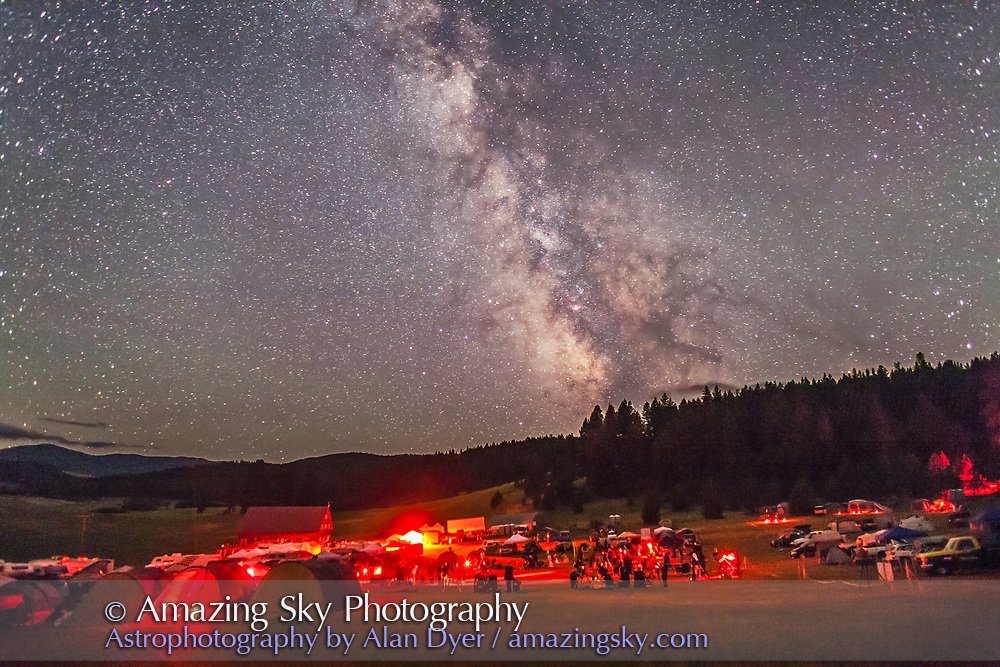 The observing field with the backdrop of the summer Milky Way, at the Table Mountain Star Party at the Eden Valley Guest Ranch near Oroville, Washington, July 24, 2014. A single 20-second exposure, untracked, at f/2.2 with the 24mm lens at Canon 5D MkII at ISO 6400.