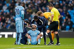 Pablo Zabaleta of Manchester City has his head bandaged after colliding with teammate Eliaquim Mangala who looks on - Photo mandatory by-line: Rogan Thomson/JMP - 07966 386802 - 28/12/2014 - SPORT - FOOTBALL - Manchester, England - Etihad Stadium - Manchester City v Burnley - Barclays Premier League.