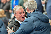 The two managers greet each other before the game during the Sky Bet Championship match between Blackburn Rovers and Leeds United at Ewood Park, Blackburn, England on 12 March 2016. Photo by Mark Pollitt.