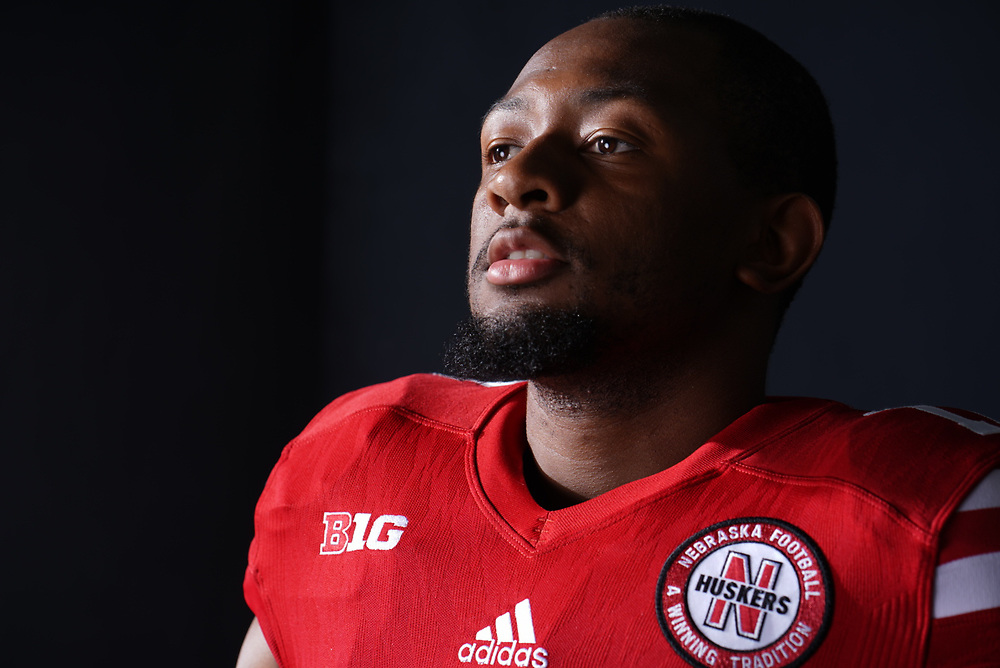 Sedrick King #17 during a portrait session at Memorial Stadium in Lincoln, Neb. on June 6, 2017. Photo by Paul Bellinger, Hail Varsity