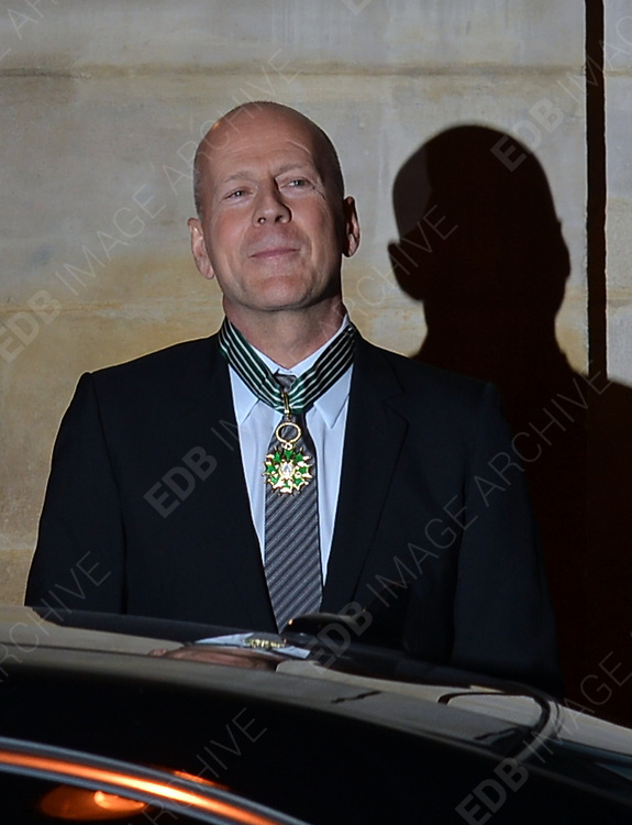 11.FEBRUARY.2013. PARIS<br /> <br /> BRUCE WILLIS LEAVING HIS HOTEL TO BE HONORED WITH THE MEDAL OF COMMANDEUR DE L'ORDRE DES ARTS ET DES LETTRES' BY CULTURE MINISTER AURELIE FILIPPETTI AT THE MINISTRY OF CULTURE IN PARIS<br /> <br /> BYLINE: EDBIMAGEARCHIVE.CO.UK<br /> <br /> *THIS IMAGE IS STRICTLY FOR UK NEWSPAPERS AND MAGAZINES ONLY*<br /> *FOR WORLD WIDE SALES AND WEB USE PLEASE CONTACT EDBIMAGEARCHIVE - 0208 954 5968*