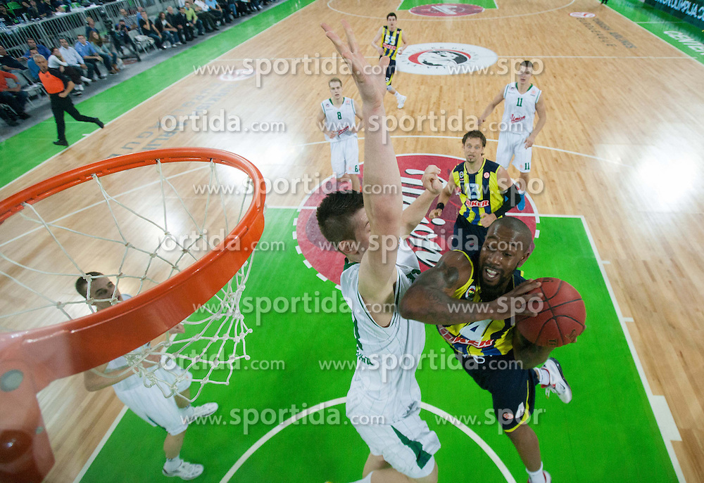 Alen Omic of Union Olimpija vs Bo McCalebb of Fenerbahce Ulker during basketball match between KK Union Olimpija and Fenerbahce Ulker Istanbul (TUR)  in 2nd Round of Regular season of Euroleague 2012/13 on October 19, 2012 in Arena Stozice, Ljubljana, Slovenia. Fenerbahce Ulker defeated Union Olimpija 81-75. (Photo By Vid Ponikvar / Sportida)