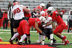 NORMAL, IL - November 17:  Tevin McCasters run is stopped near midfield by Tuvone Clark and Romeo McKnight during a college football game between the ISU (Illinois State University) Redbirds and the Youngstown State Penguins on November 17 2018 at Hancock Stadium in Normal, IL. (Photo by Alan Look)