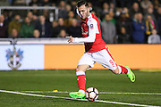 Arsenal Forward Lucas Perez shoots at goal during the The FA Cup match between Sutton United and Arsenal at Gander Green Lane, Sutton, United Kingdom on 20 February 2017. Photo by Phil Duncan.