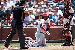 SAN FRANCISCO, CA - JUNE 26: MLB umpire Doug Eddings #88 warns the benches after Maikel Franco #7 of the Philadelphia Phillies is hit by a pitch from Johnny Cueto (not pictured) of the San Francisco Giants during the fourth inning at AT&T Park on June 26, 2016 in San Francisco, California.  (Photo by Jason O. Watson/Getty Images) *** Local Caption *** Doug Eddings; Maikel Franco