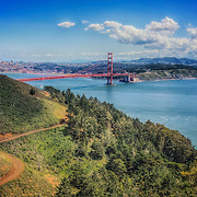 View of San Francisco and the Golden Gate Bridge from the Marin Headlands.