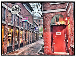 "Commercial Alley in Portsmouth, New Hampshire. iPhone photo - suitable for print reproduction up to 8"" x 10""."