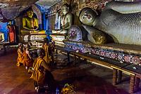 Cambodian Buddhist monk pilgrims, Dambulla Cave Temples, Dambulla, Central Province, Sri Lanka.