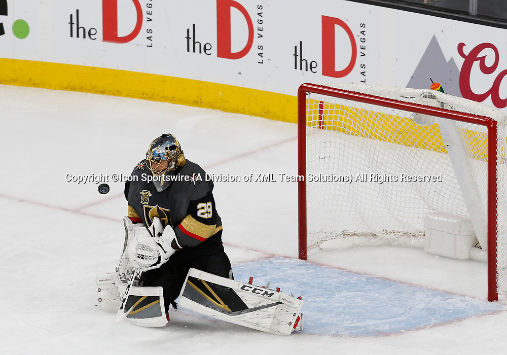 LAS VEGAS, NV - APRIL 11: Vegas Golden Knights goaltender Marc-Andre Fleury (29) blocks a puck during Game One of the Western Conference First Round of the 2018 NHL Stanley Cup Playoffs between the L.A. Kings and the Vegas Golden Knights Wednesday, April 11, 2018, at T-Mobile Arena in Las Vegas, Nevada. The Golden Knights won 1-0.  (Photo by: Marc Sanchez/Icon Sportswire)