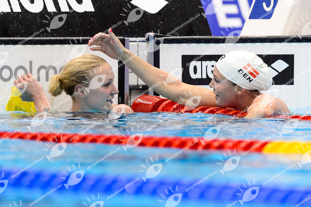 Sarah SJOESTROEM SWE Gold Medal <br /> Jeanette OTTESEN DEN Silver Medal <br /> 100m Butterfly Women Final<br /> London, Queen Elizabeth II Olympic Park Pool <br /> LEN 2016 European Aquatics Elite Championships <br /> Swimming<br /> Day 12 20-05-2016<br /> Photo Andrea Staccioli/Deepbluemedia/Insidefoto