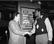 """14/07/1972<br /> 07/14/1972<br /> 14 July 1972<br /> Al """"Blue"""" Lewis at the Gaiety Theatre. Lewis shakes hands with Fred O'Donovan  Group Managing Director for Eamonn Andrews Studios."""