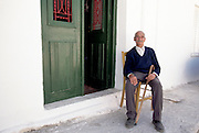 Man in town of Platanos on the Island of Crete, Greece