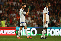 August 31, 2017 - Porto, Porto, Portugal - Rogvi Baldvinsson (L) midfielder of Ilhas Faroe celebrates after scoring a goal during the FIFA World Cup Russia 2018 qualifier match between Portugal and Faroe Islands at Bessa Sec XXI Stadium on August 31, 2017 in Porto, Portugal. (Credit Image: © Dpi/NurPhoto via ZUMA Press)
