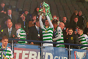 Nir Bitton of Celtic FC lifts the Betfred Scottish League Cup following their 1-0 victory over Rangers FC at Hampden Park, Glasgow, United Kingdom on 8 December 2019.