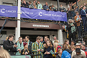 Greater London. United Kingdom, Supporters and members at Crabtree RC waiting for the races to begin.University Boat Races , Cambridge University vs Oxford University. Putney to Mortlake,  Championship Course, River Thames, London. <br /> <br /> Saturday  24/03/2018<br /> <br /> [Mandatory Credit  Intersport Images]