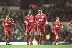 London, England - Monday, December 2, 1996: Liverpool's Neil Ruddock celebrates with goal scorer Michael Thomas during the 2-0 Premier League victory over Tottenham Hotspur at White Hart Lane. (Pic by David Rawcliffe/Propaganda)