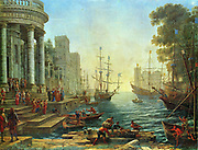 Claude Lorrain 'Seaport' with the Embarkation of Saint Ursula Painted  by Claude Lorraine, French painter (1600 - 1682).