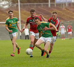 Mayo&rsquo;s Ryan O&rsquo;Donoghue and Jordan Flynn close down Leitrim&rsquo;s Kevin Mulligan during the U20 semi-final at MacHale park.<br />