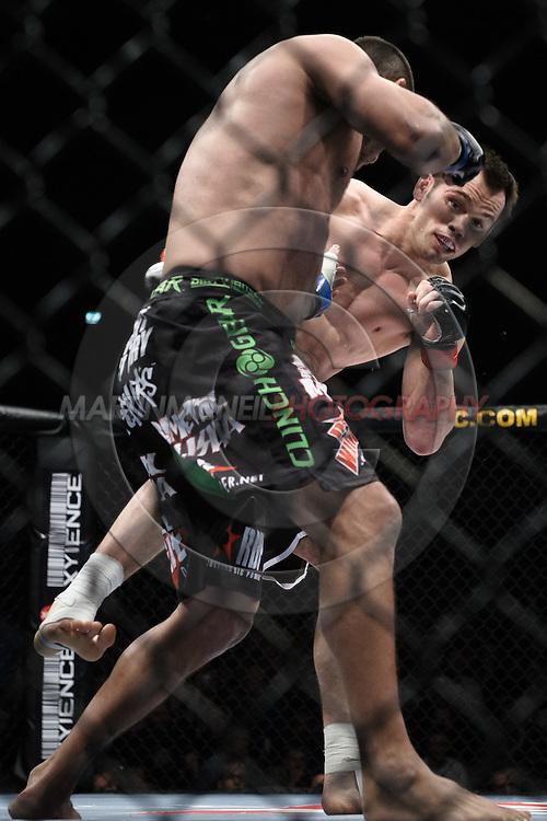 "DUBLIN, IRELAND, JANUARY 17, 2009: Rich Franklin (left) and Dan Henderson during ""UFC 93: Franklin vs. Henderson"" inside the O2 Arena in Dublin, Ireland"