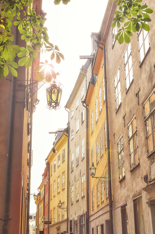 The top of two heads are just barely seen in a charming sunny alleyway in Gamla Stan, Old Town, Stockholm, Sweden
